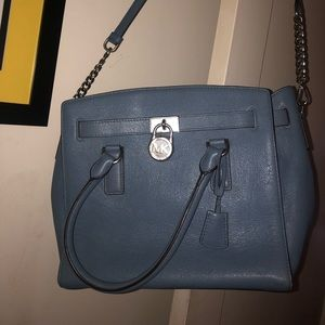 MICHAEL KORS medium chambray blue leather bag